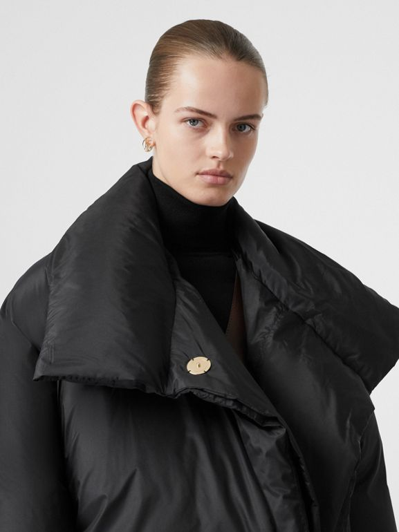 Detachable Hood Down-filled Oversized Wrap Coat in Black - Women | Burberry - cell image 1