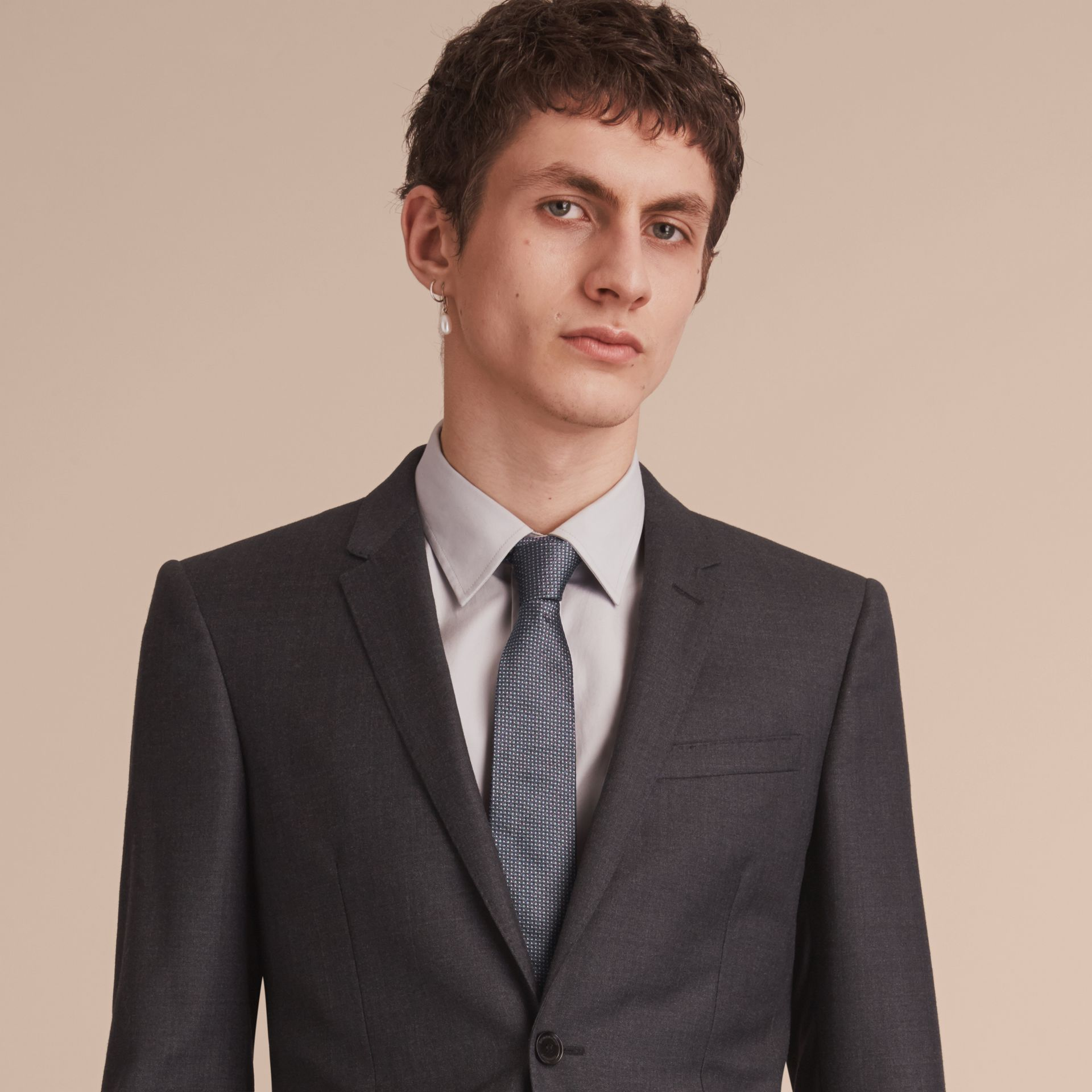 Modern Cut Patterned Silk Tie in Mid Grey - Men | Burberry - gallery image 3