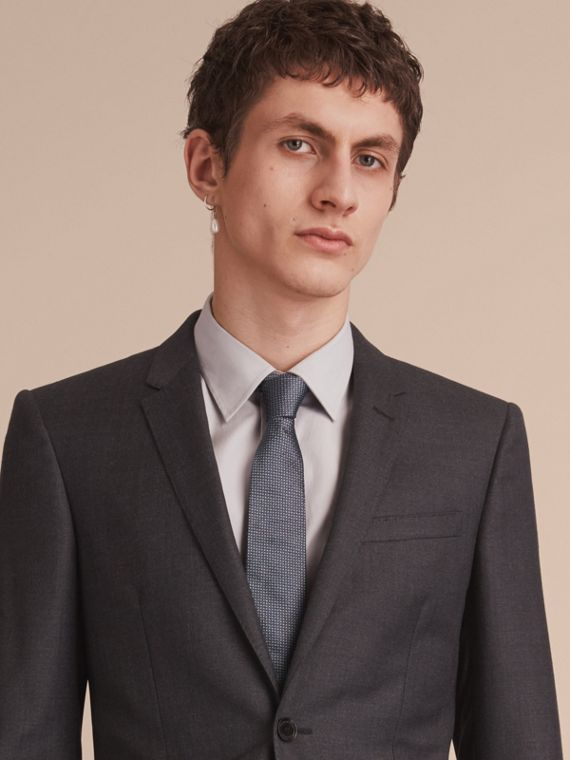 Modern Cut Patterned Silk Tie in Mid Grey - Men | Burberry - cell image 2