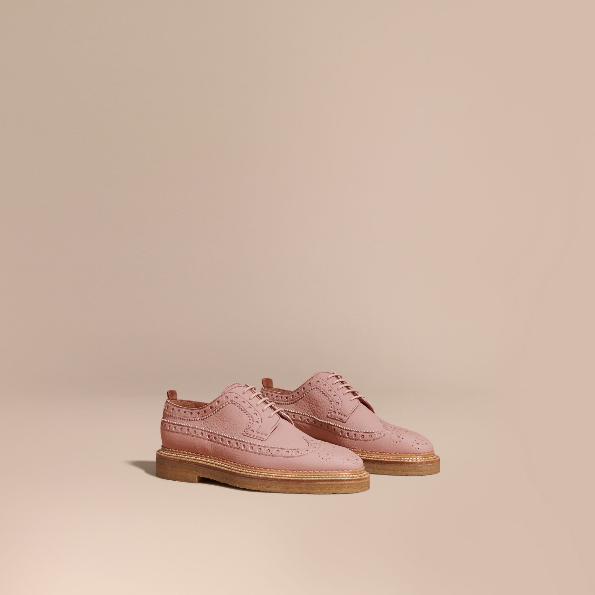 Leather Wingtip Brogues Rose Pink - gallery image 1