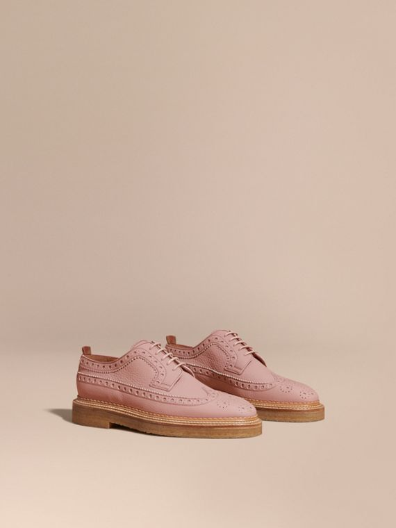 Leather Wingtip Brogues in Rose Pink
