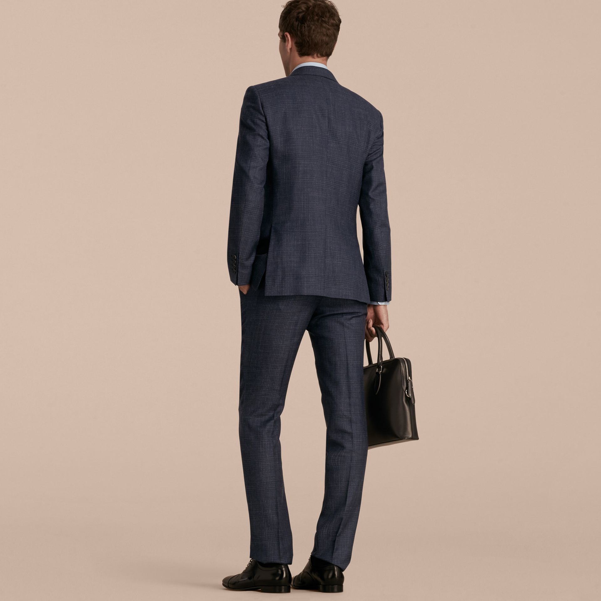 Modern Fit Wool Silk Blend Half-canvas Suit - gallery image 3