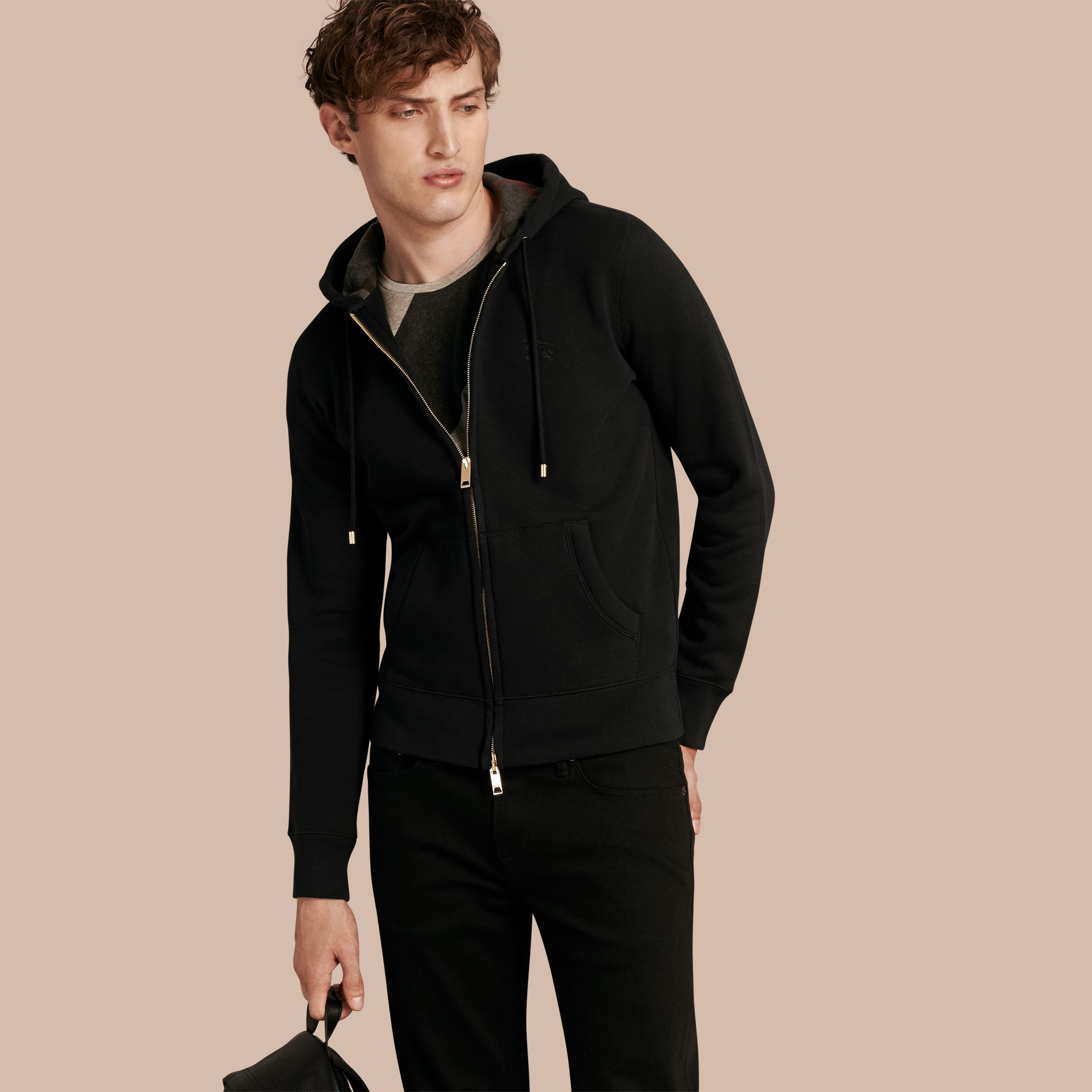 Hooded Cotton Jersey Top Black - gallery image 1