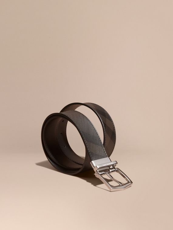 Reversible London Check and Leather Belt in Black - Men | Burberry Canada