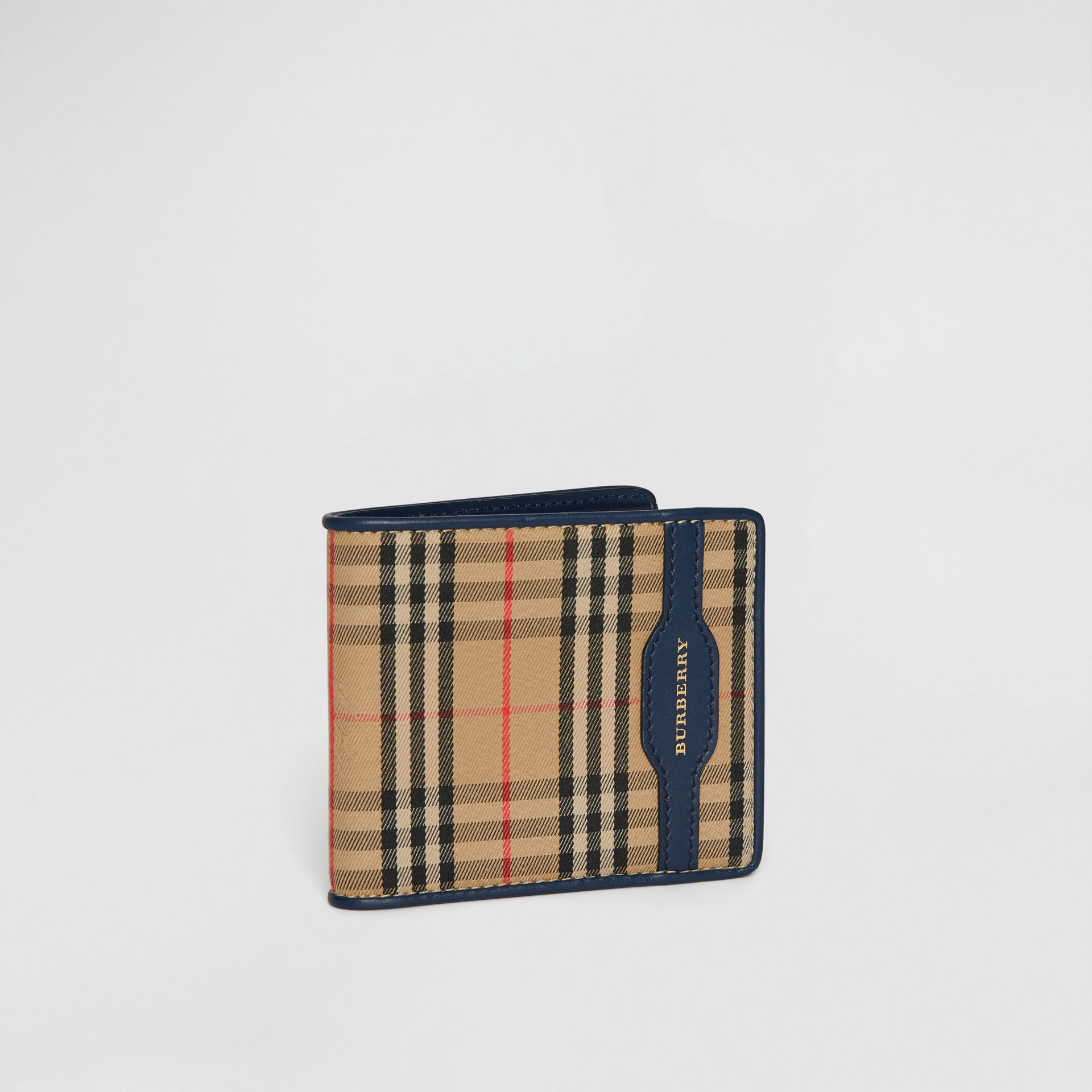 1983 Check and Leather International Bifold Wallet in Ink Blue - Men | Burberry Singapore - gallery image 4