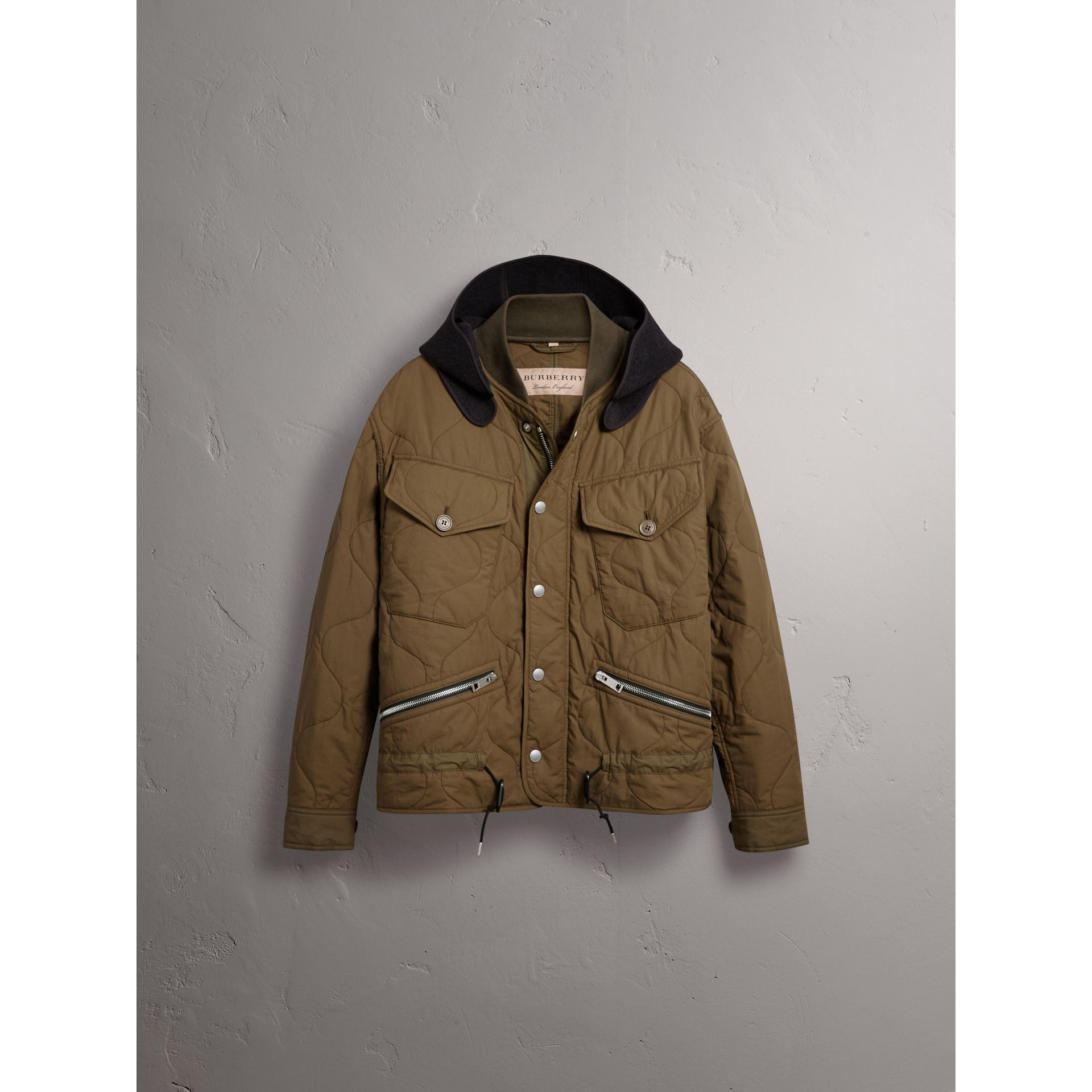 Detachable Hood Quilted Cotton Bomber Jacket in Olive Green - Men | Burberry - gallery image 3