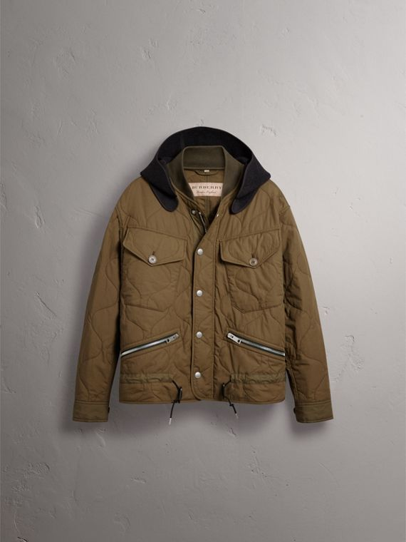 Detachable Hood Quilted Cotton Bomber Jacket in Olive Green - Men | Burberry Canada - cell image 3