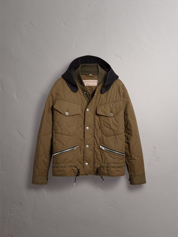 Detachable Hood Quilted Cotton Bomber Jacket in Olive Green - Men | Burberry - cell image 3