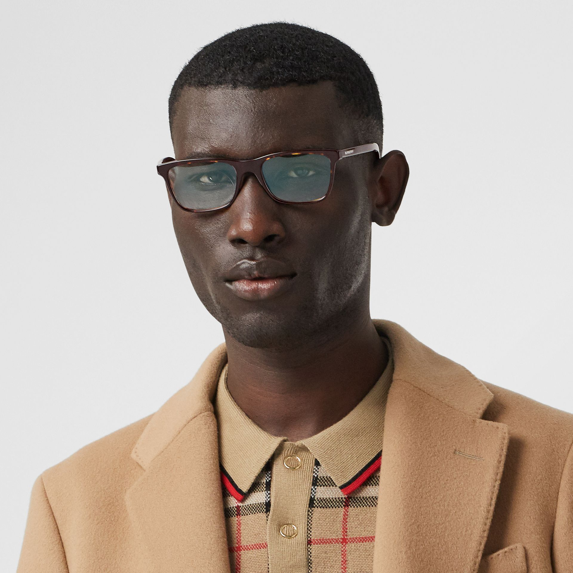 Rectangular Optical Frames in Tortoiseshell - Men | Burberry Australia - gallery image 2