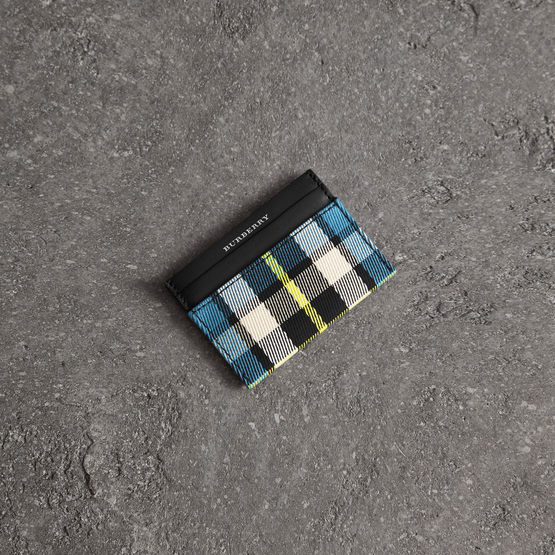 Tartan Check and Leather Card Case in Dark Blue/black | Burberry - gallery image 0