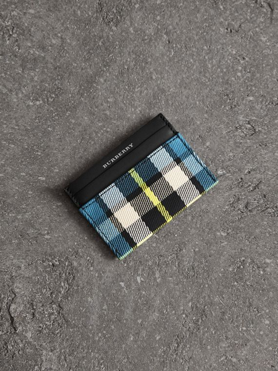 Tartan Check and Leather Card Case in Dark Blue/black