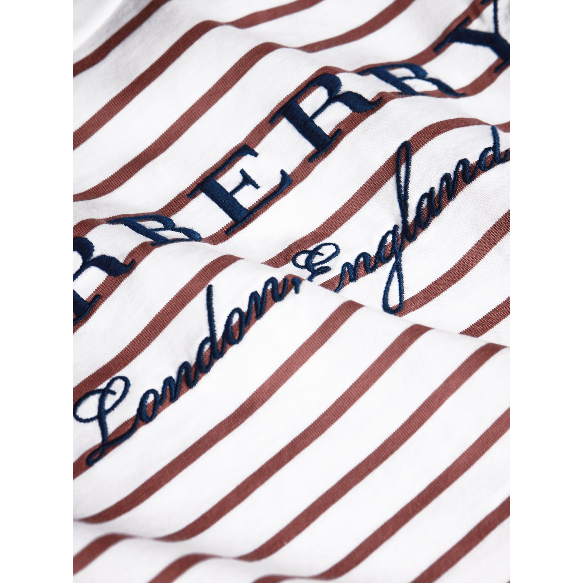 Embroidered Striped Cotton Top in Antique Rose/white - Girl | Burberry Australia - gallery image 2