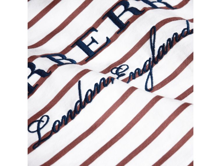 Embroidered Striped Cotton Top in Antique Rose/white - Girl | Burberry - cell image 1