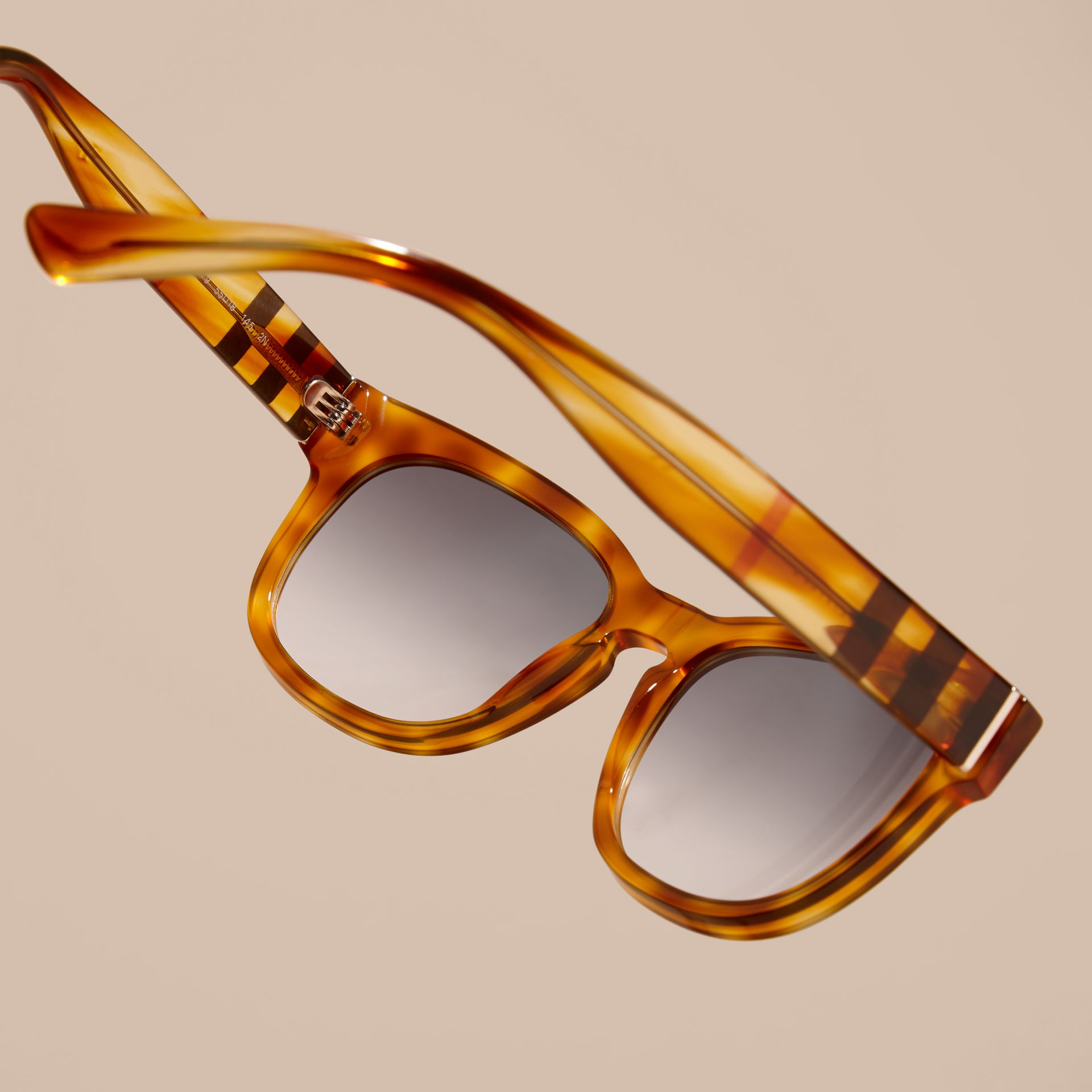 Light russet brown Check Detail Square Frame Sunglasses - gallery image 5