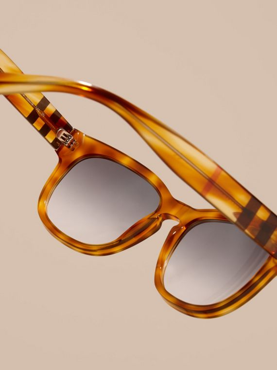 Light russet brown Check Detail Square Frame Sunglasses - cell image 3