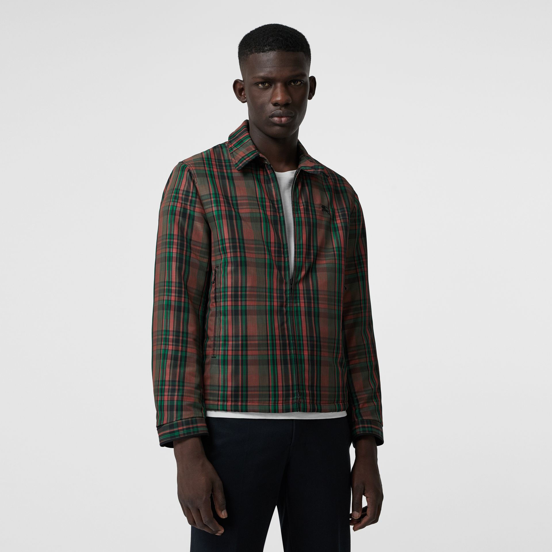 Fleece-lined Check Harrington Jacket in Russet Red - Men | Burberry - gallery image 4