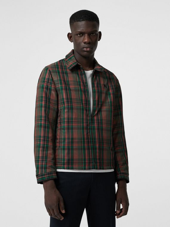 Fleece-lined Check Harrington Jacket in Russet Red