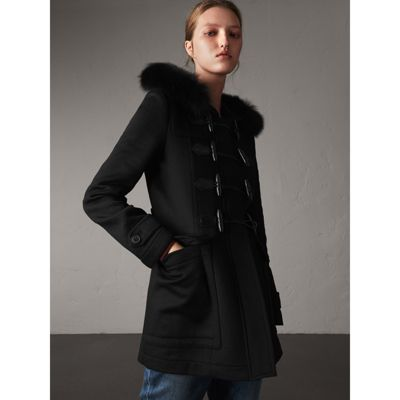Burberry - Duffle-coat en laine avec bordure en fourrure amovible - 1