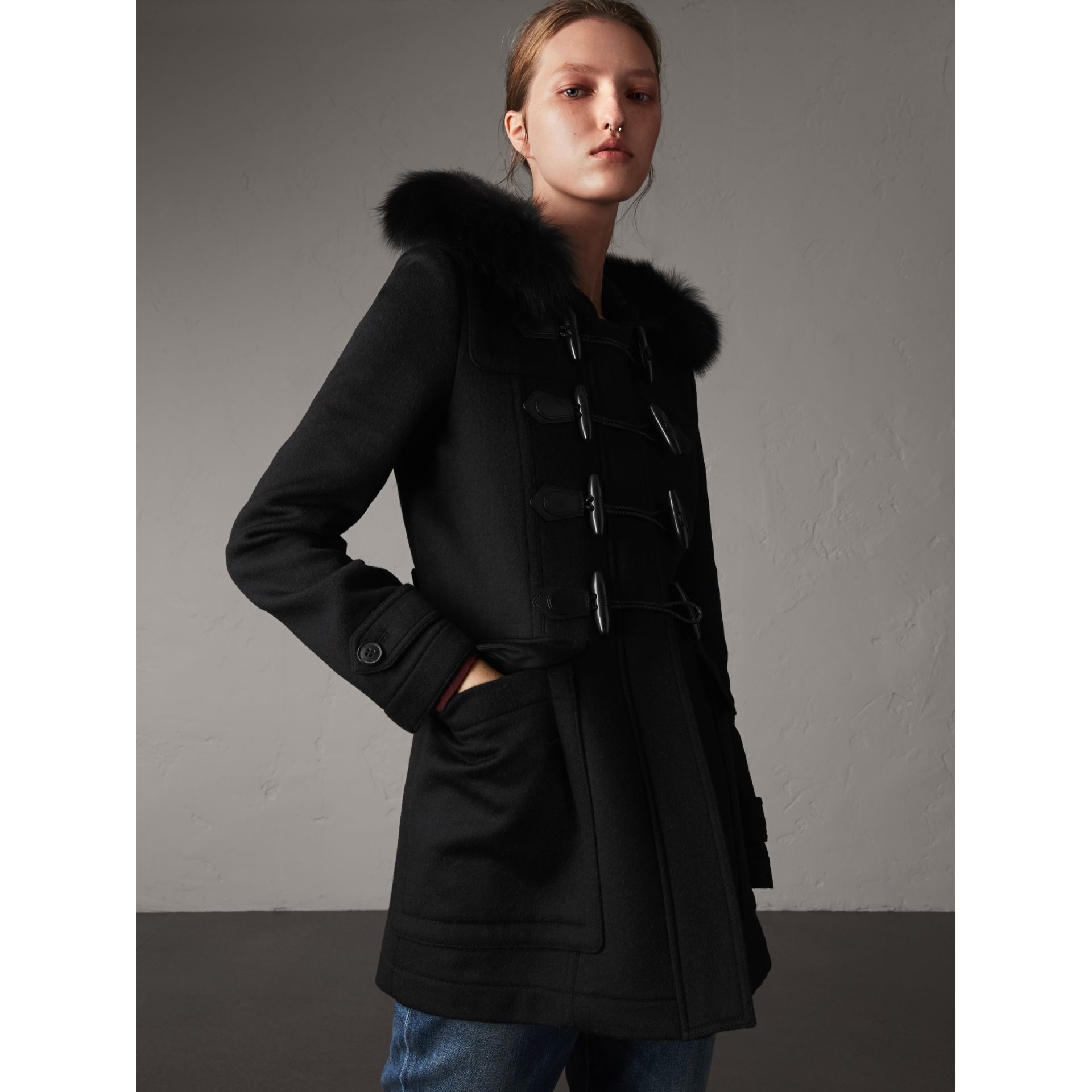 Detachable Fur Trim Wool Duffle Coat in Black - gallery image 1