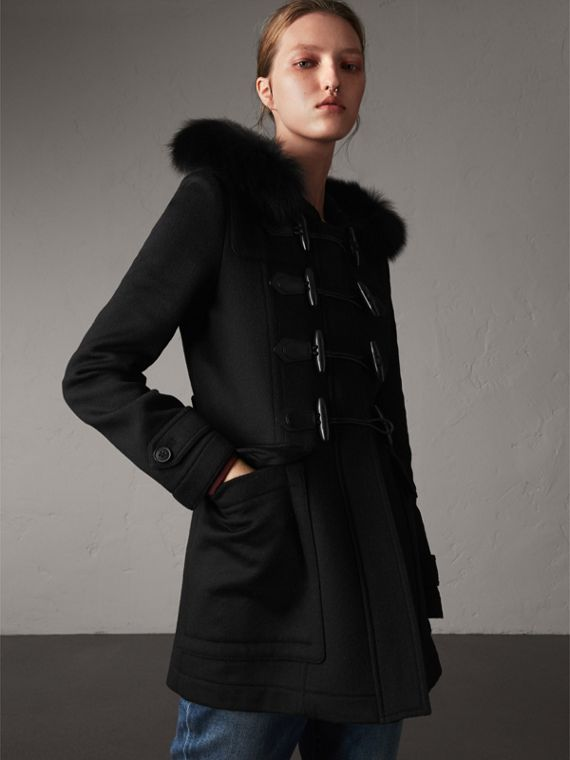 Detachable Fur Trim Wool Duffle Coat in Black