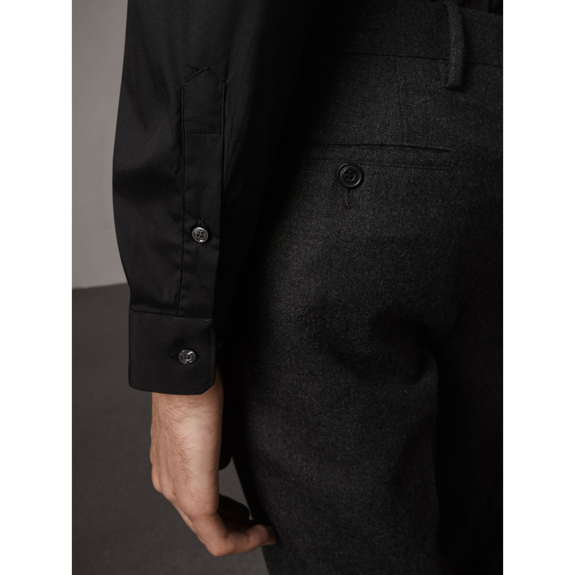Slim Fit Stretch Cotton Shirt in Black - Men | Burberry - gallery image 1