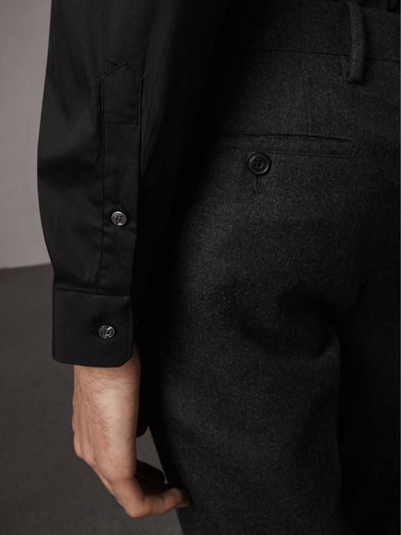 Slim Fit Stretch Cotton Shirt in Black - Men | Burberry United Kingdom - cell image 1
