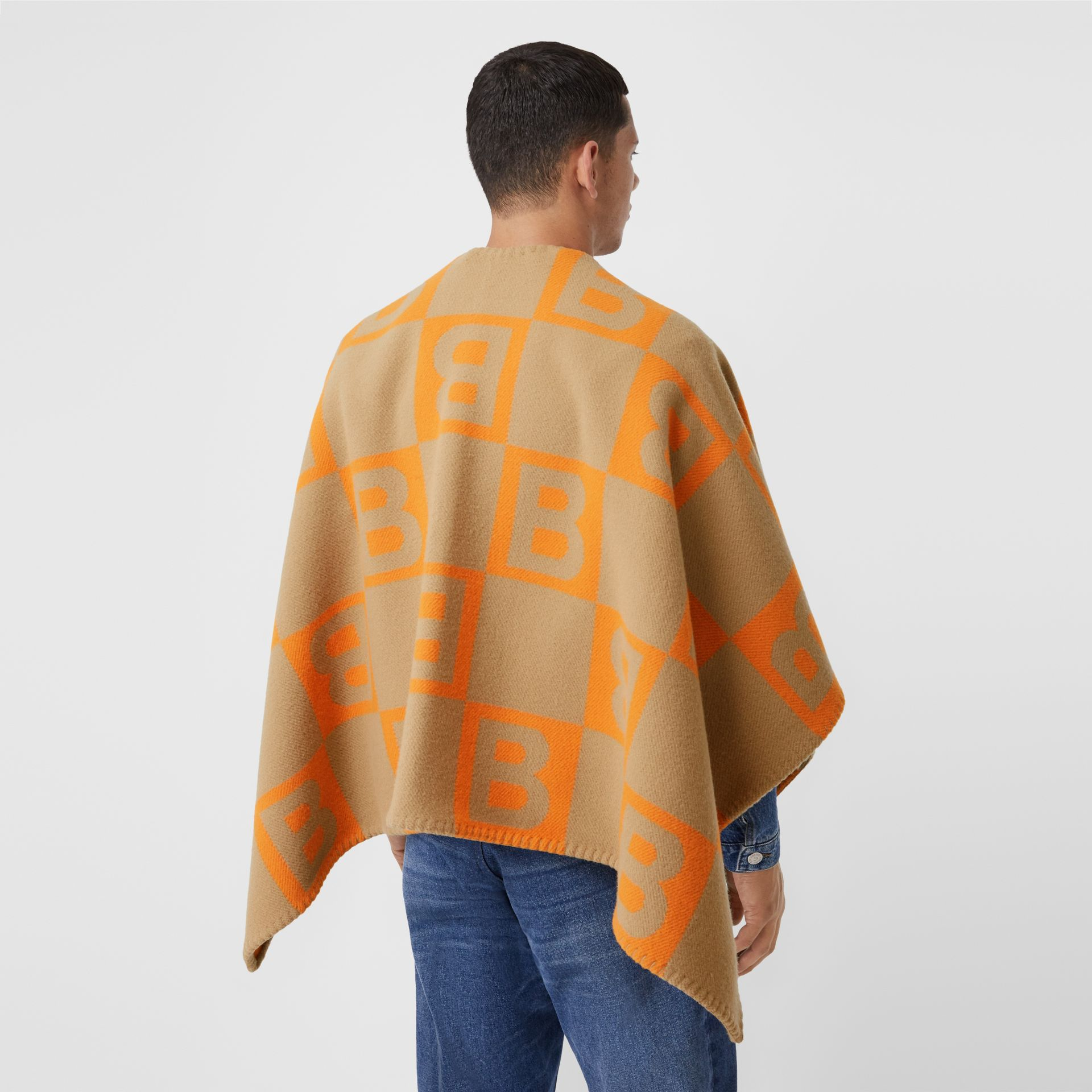 B Motif Merino Wool Cashmere Cape in Orange - Women | Burberry - gallery image 6