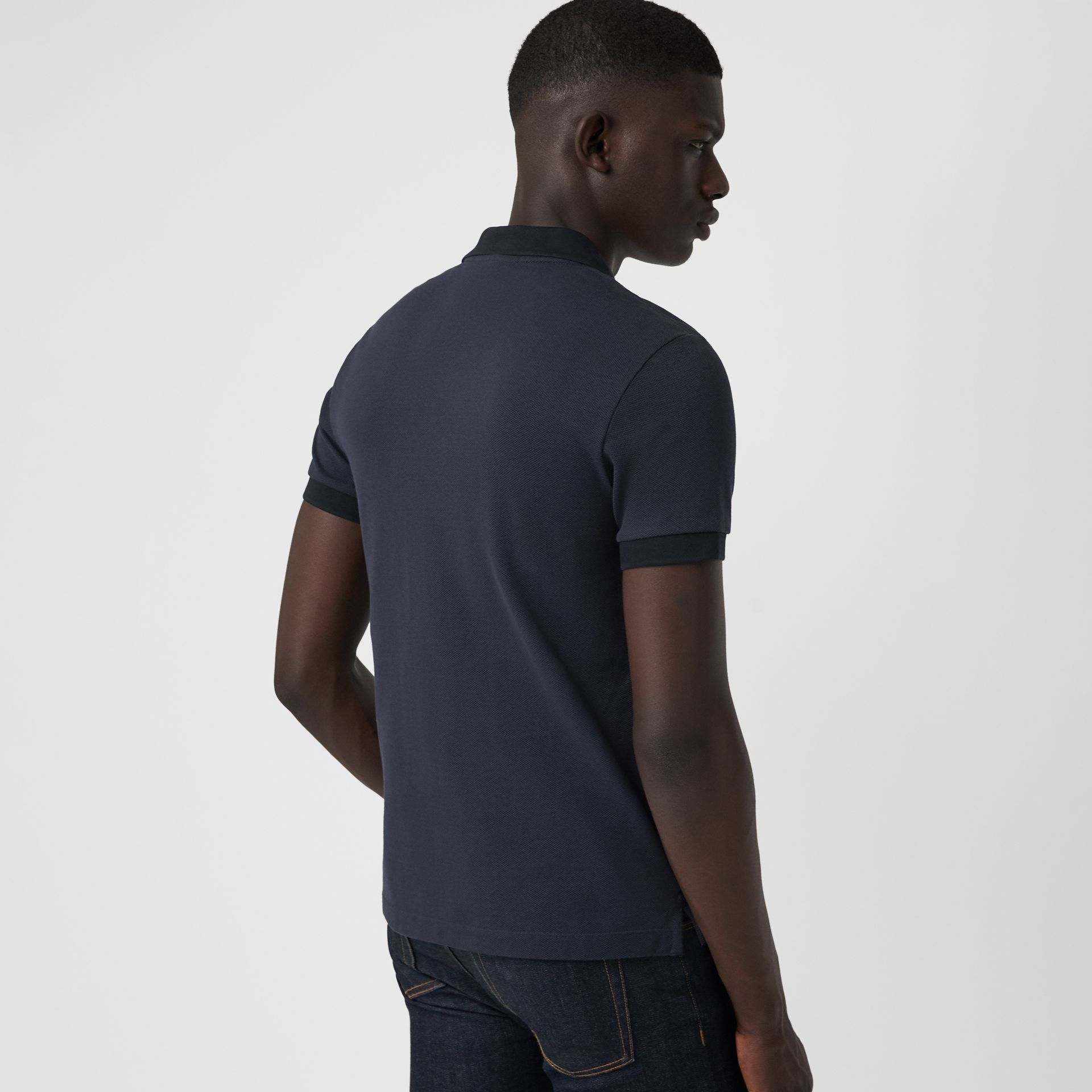 Check Placket Cotton Polo Shirt in Navy - Men | Burberry Singapore - gallery image 2