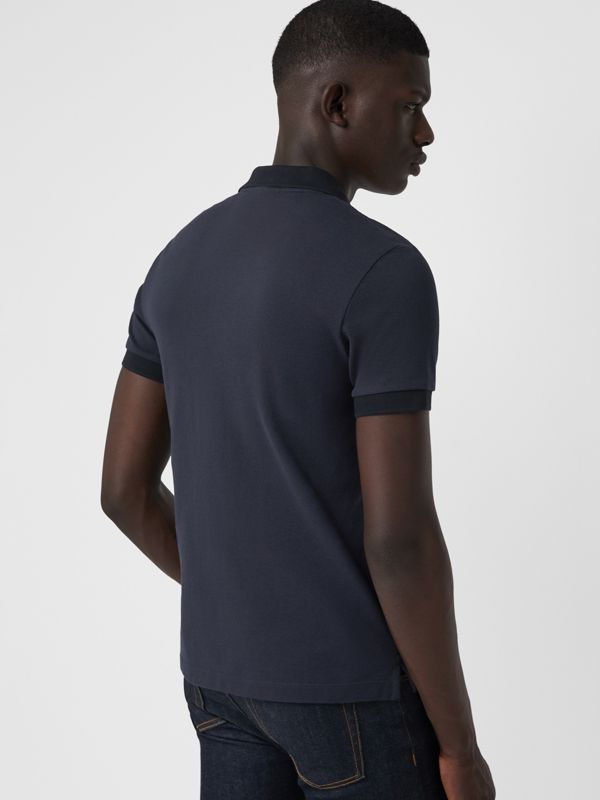 Check Placket Cotton Polo Shirt in Navy - Men | Burberry Singapore - cell image 2