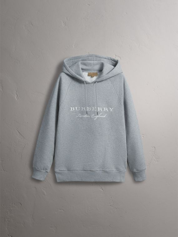 Embroidered Hooded Sweatshirt in Grey Melange