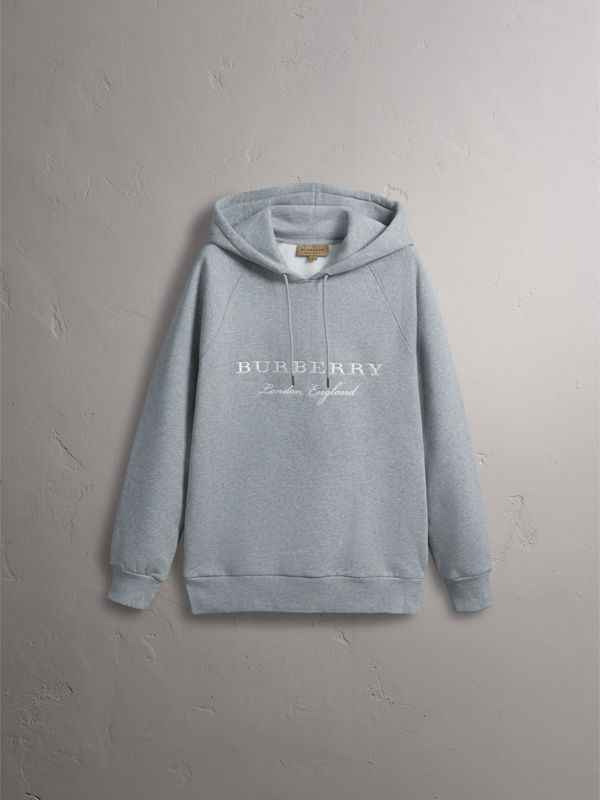 Embroidered Hooded Sweatshirt in Grey Melange - Men | Burberry United Kingdom - cell image 2