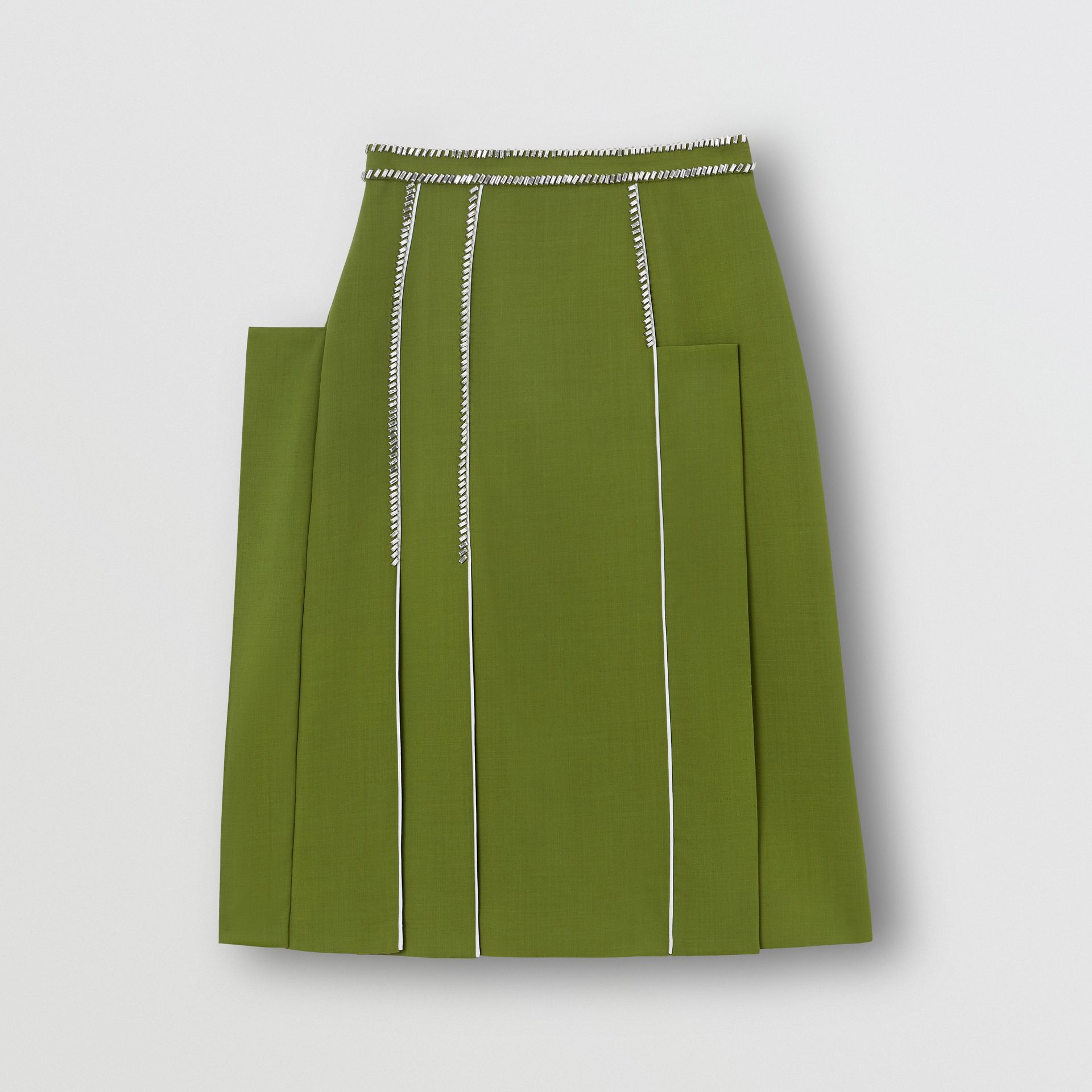 Crystal Detail Panelled Wool Crepe A-line Skirt in Cedar Green - Women | Burberry United States - gallery image 3