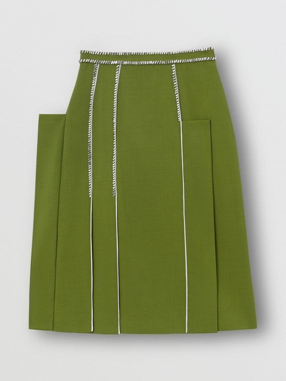 Crystal Detail Panelled Wool Crepe A-line Skirt in Cedar Green