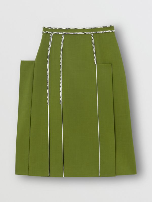 Crystal Detail Panelled Wool Crepe A-line Skirt in Cedar Green - Women | Burberry United States - cell image 3