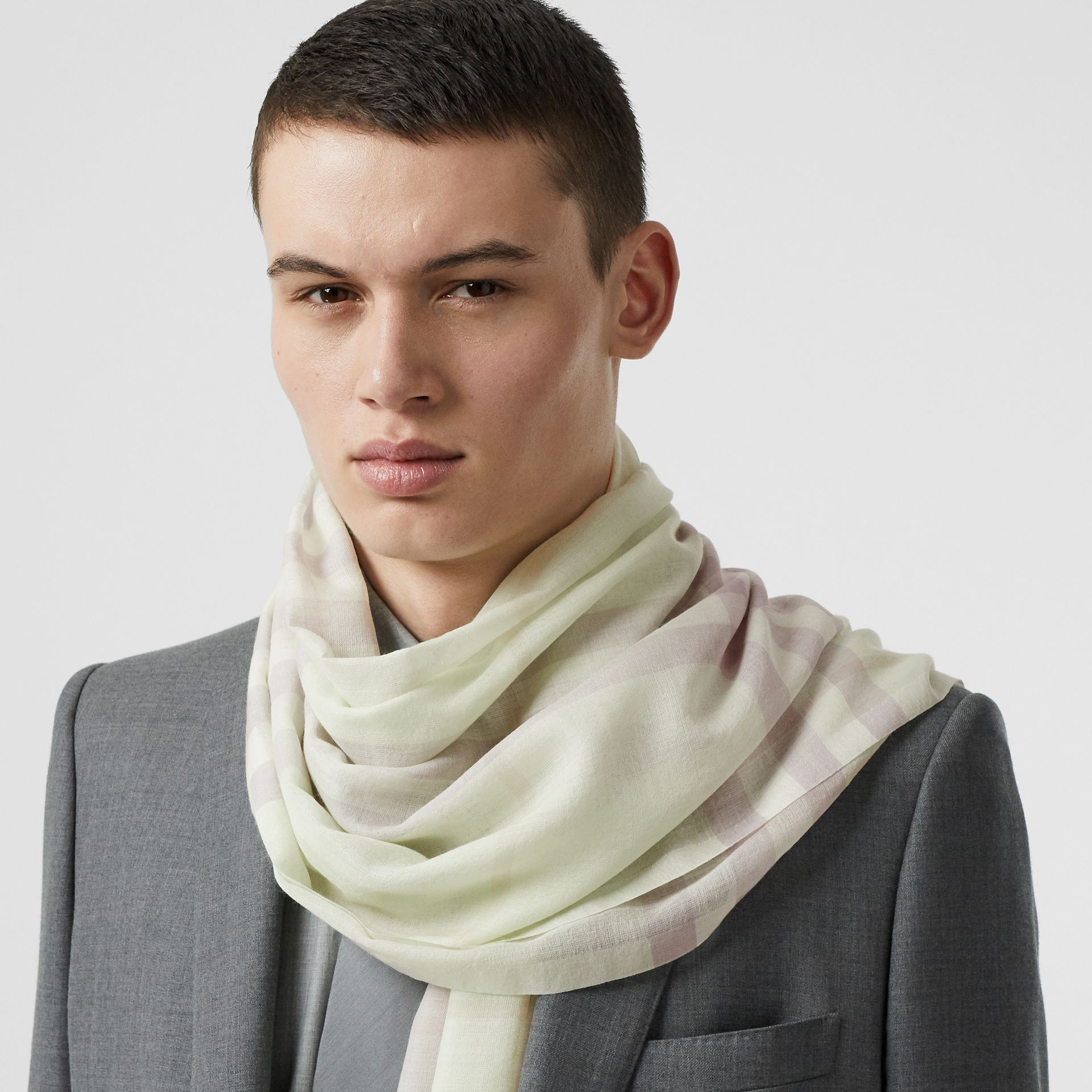 Lightweight Check Wool and Silk Scarf in Limestone | Burberry Canada - gallery image 3