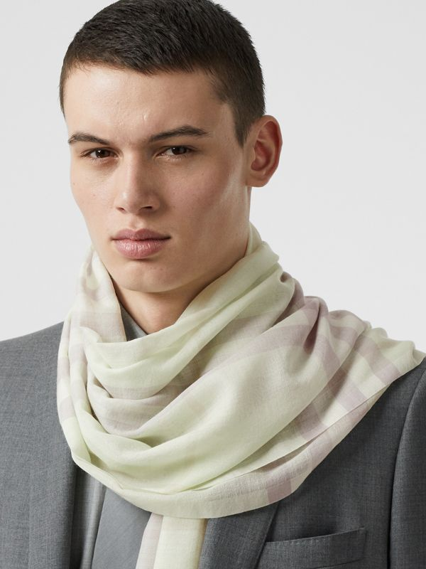 Lightweight Check Wool and Silk Scarf in Limestone | Burberry - cell image 3