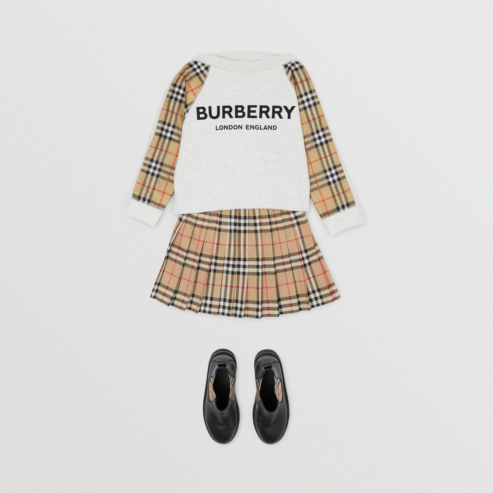 Vintage Check Detail Logo Print Cotton Sweatshirt in White Melange | Burberry Singapore - gallery image 2