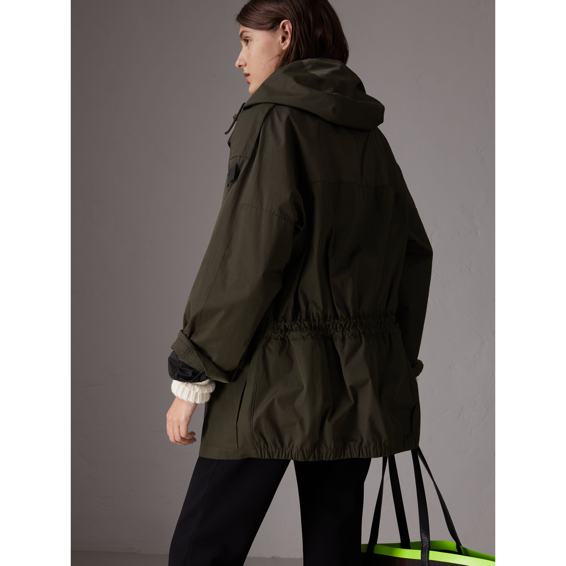 Hooded Parka with Quilted Lining in Dark Forest Green - Women | Burberry - gallery image 2
