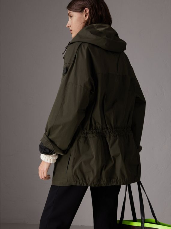 Hooded Parka with Quilted Lining in Dark Forest Green - Women | Burberry - cell image 2