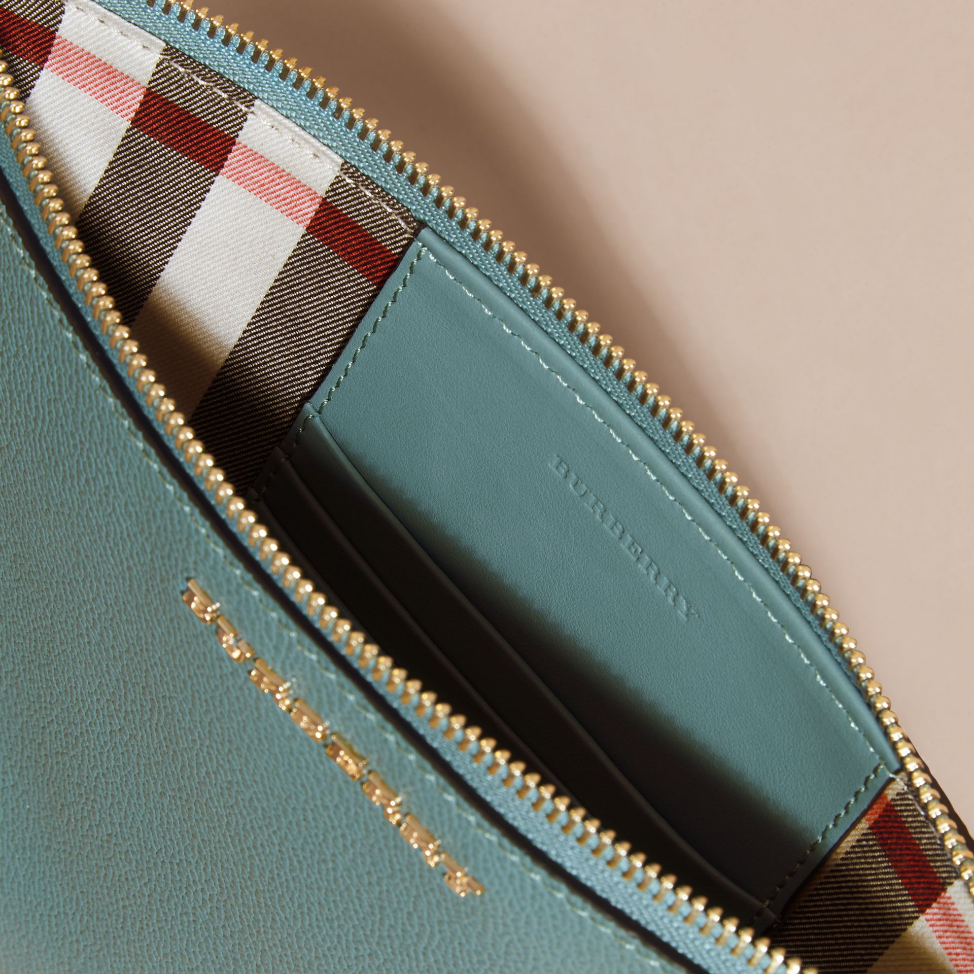 Leather Clutch Bag with Check Lining in Eucalyptus Green - Women | Burberry - gallery image 6