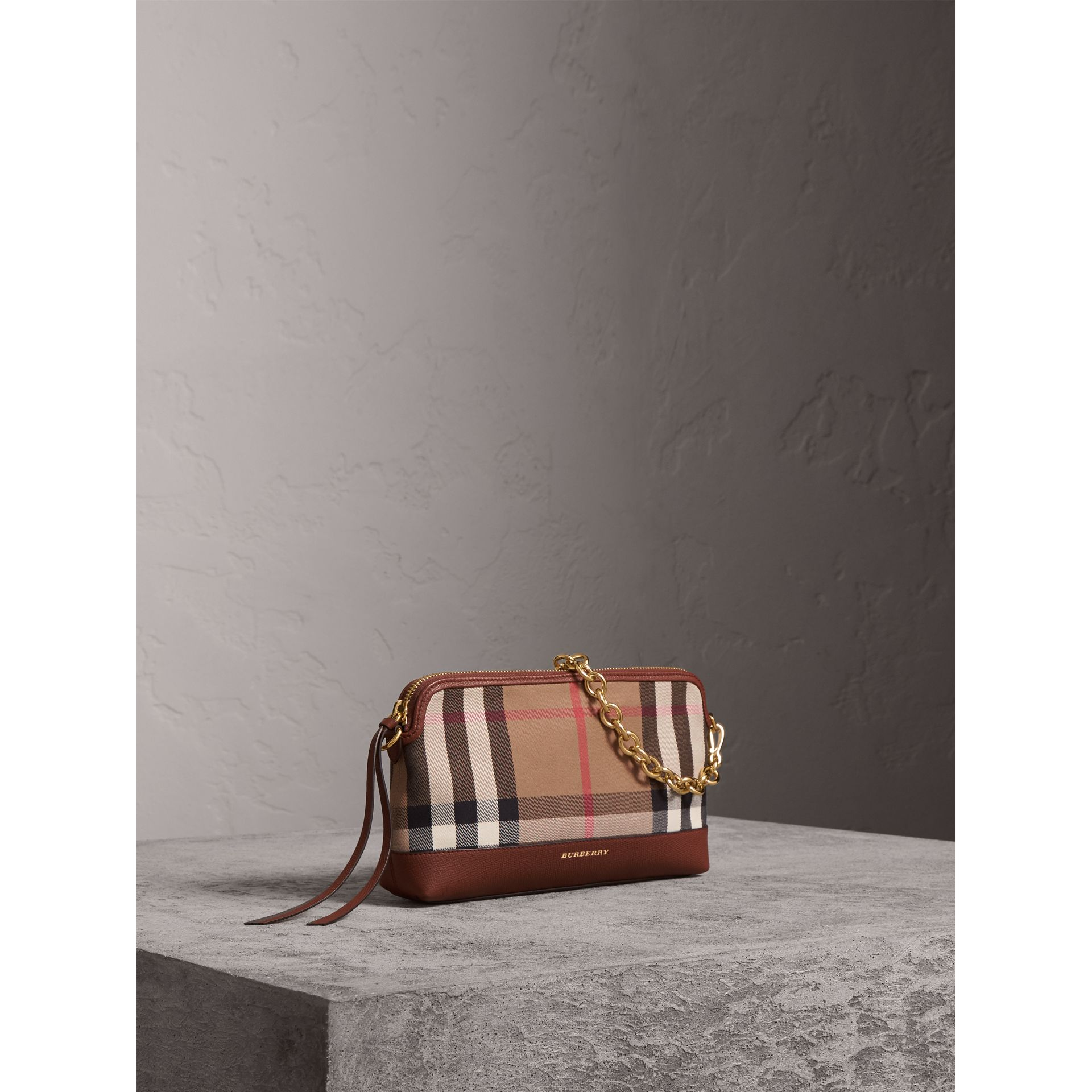 House Check and Leather Clutch Bag in Tan - Women | Burberry - gallery image 8