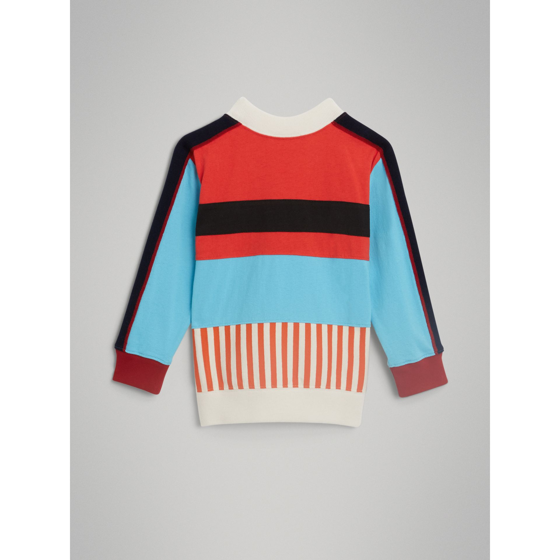 Logo Print Panelled Cotton Sweatshirt in Bright Red - Boy | Burberry - gallery image 3