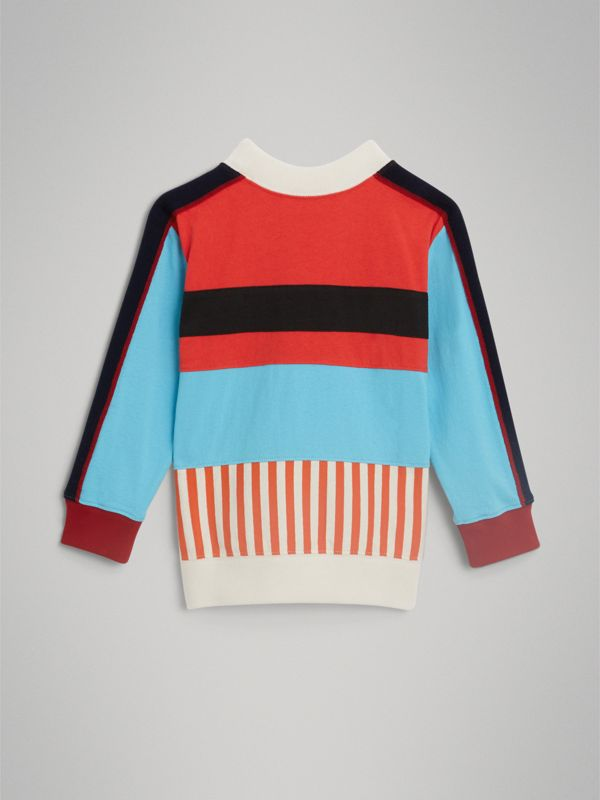 Logo Print Panelled Cotton Sweatshirt in Bright Red | Burberry - cell image 3