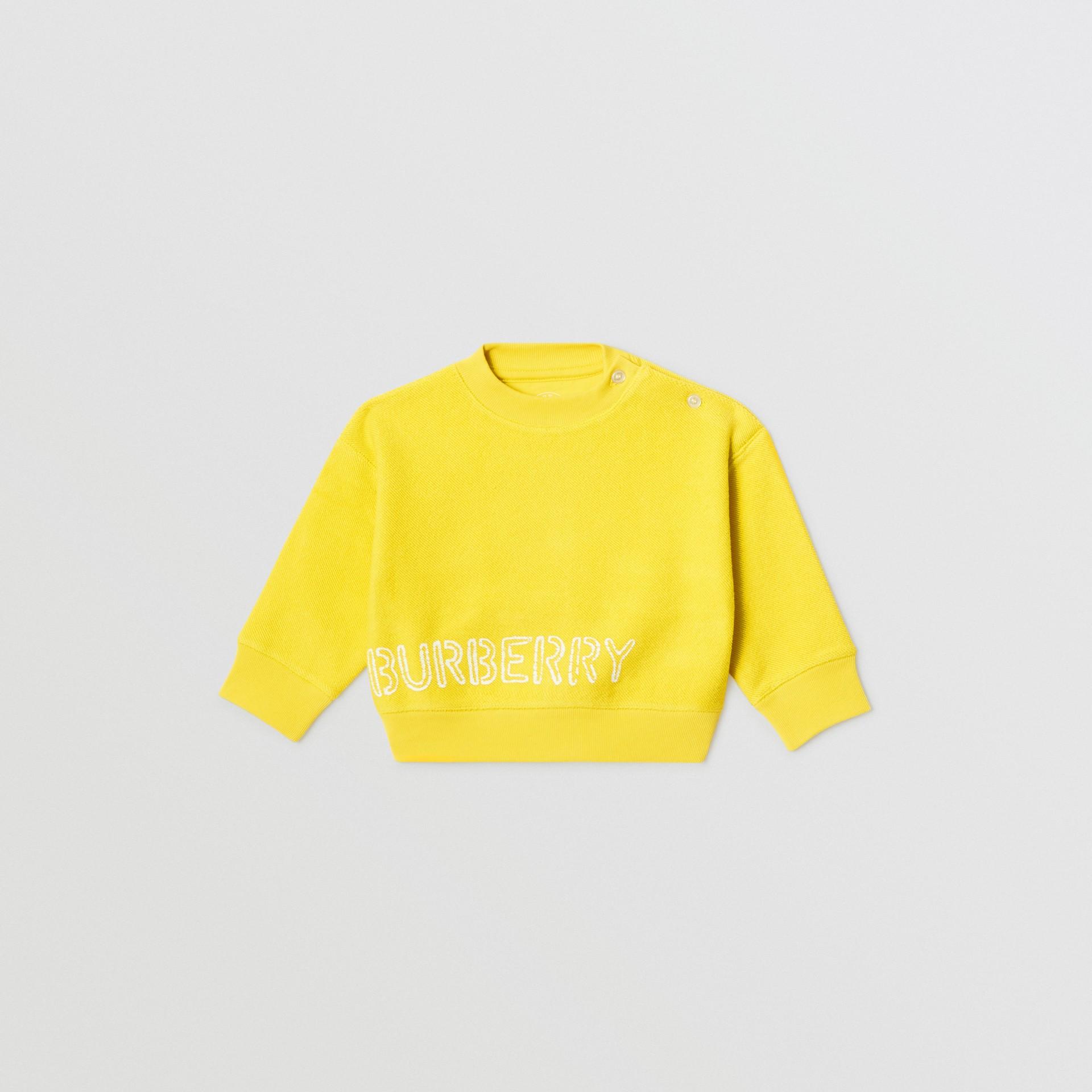 Sweat-shirt en coton avec logo au pochoir (Citron) - Enfant | Burberry - photo de la galerie 0
