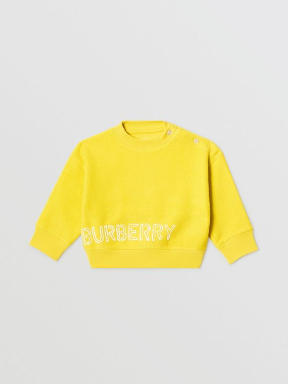 Stencil Logo Print Cotton Sweatshirt in Citron