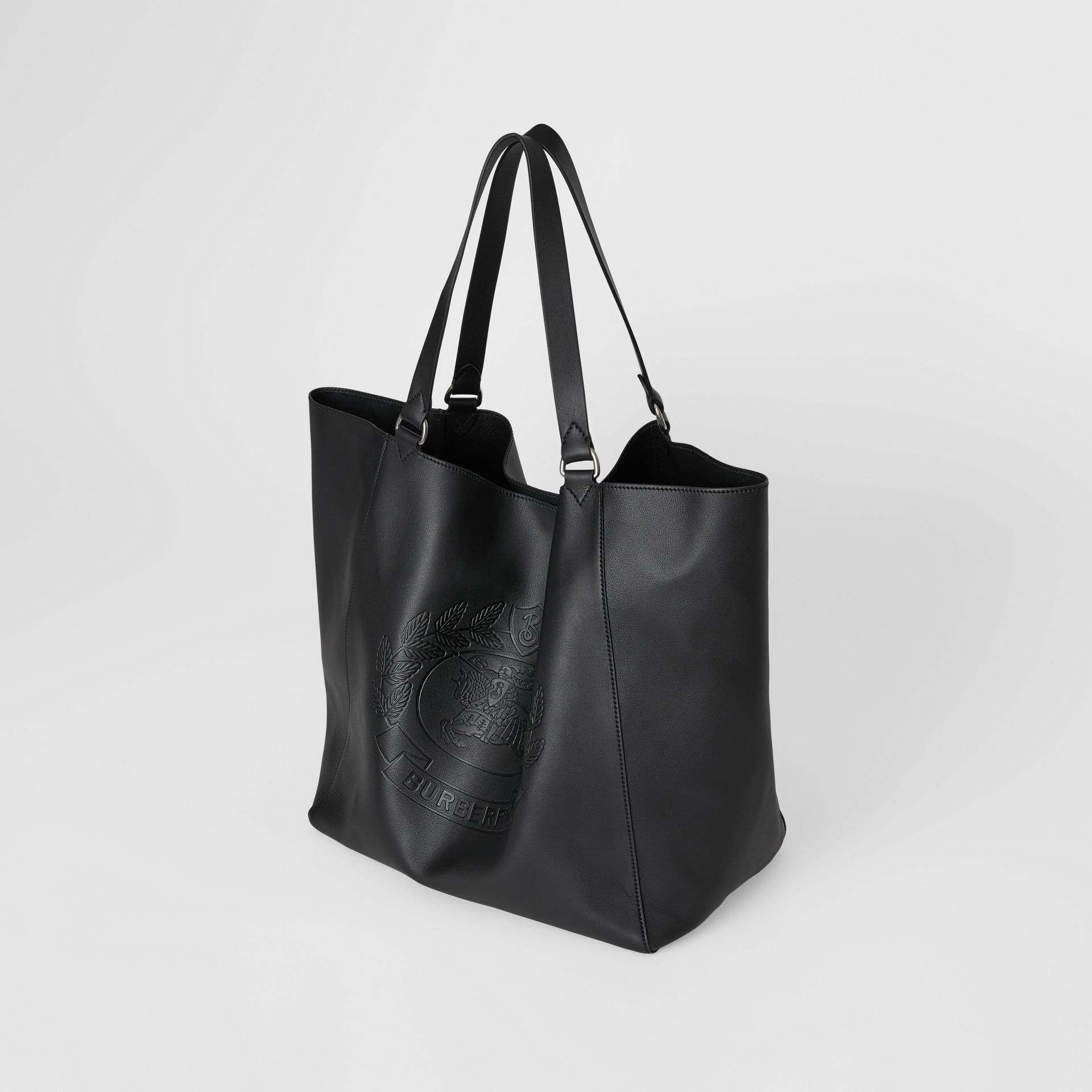 Large Embossed Crest Bonded Leather Tote in Black - Men | Burberry United States - gallery image 4