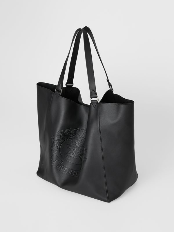 Large Embossed Crest Bonded Leather Tote in Black | Burberry Singapore - cell image 2