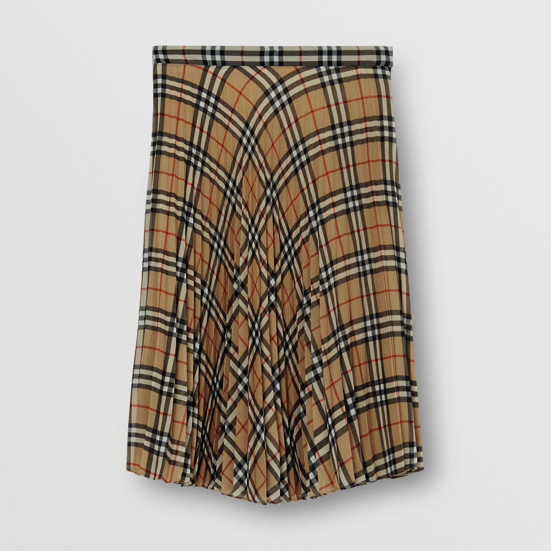 Vintage Check Chiffon Pleated Skirt in Archive Beige - Women | Burberry - gallery image 3