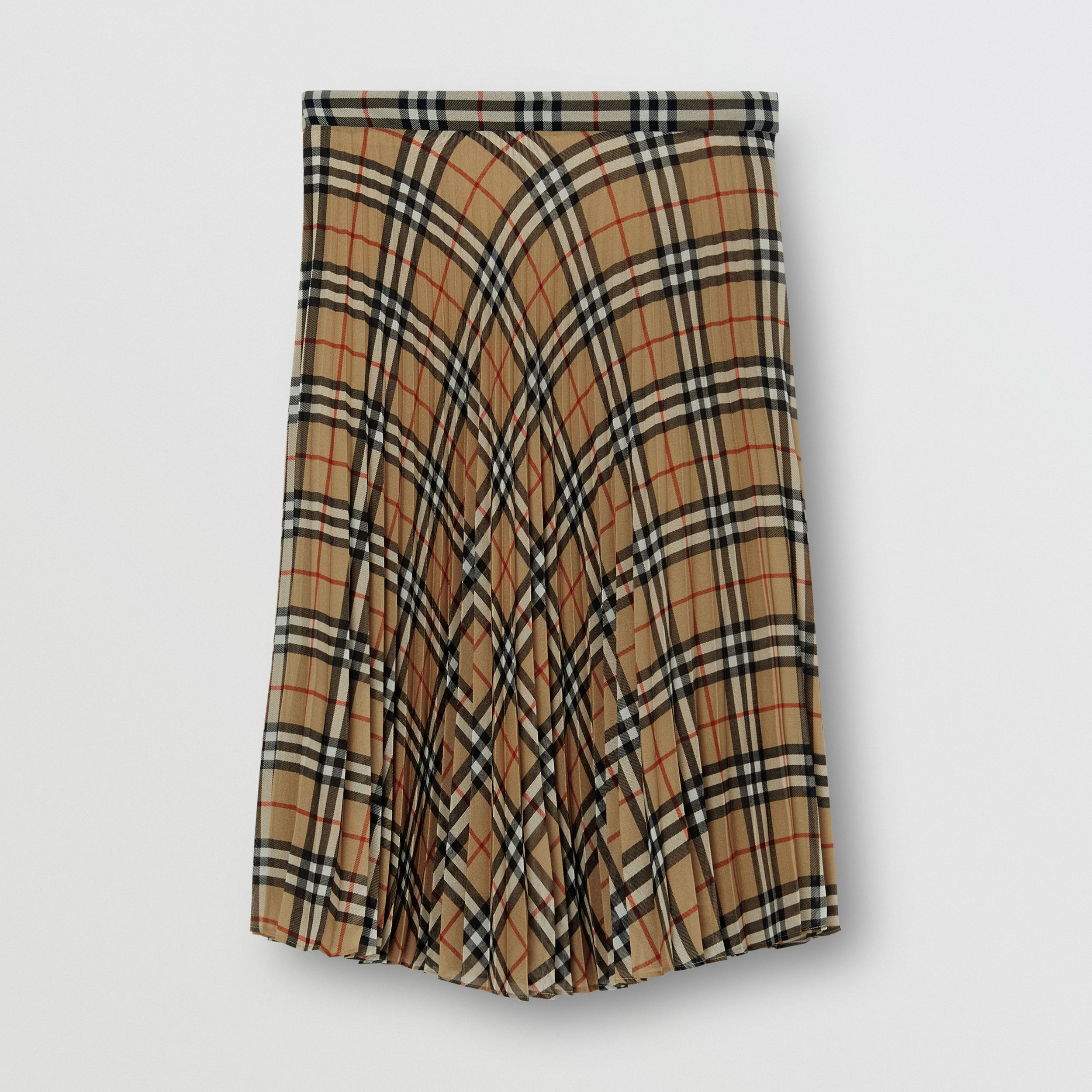 Vintage Check Chiffon Pleated Skirt in Archive Beige - Women | Burberry - 4