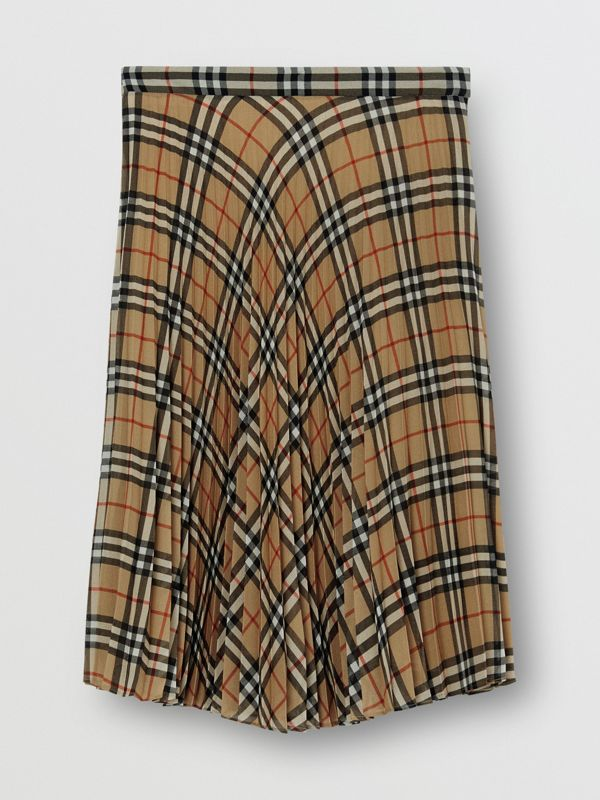 Gonna a pieghe in chiffon con motivo Vintage check (Beige Archivio) - Donna | Burberry - cell image 3